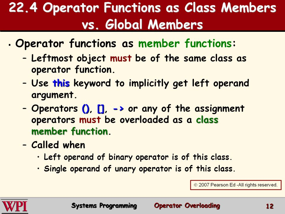 22.4 Operator Functions as Class Members vs. Global Members