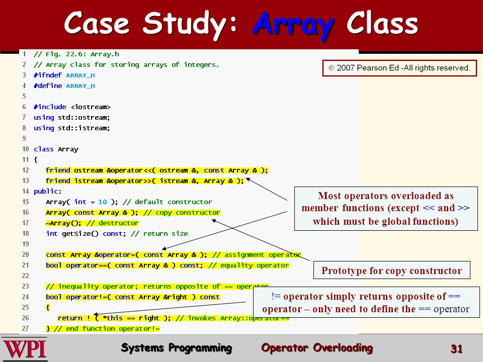 Case Study: Array Class Prototype for copy constructor