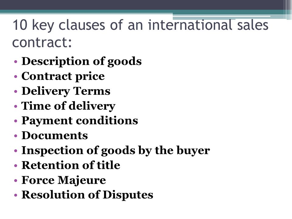The international contract of the purchase and sale - ppt video ...