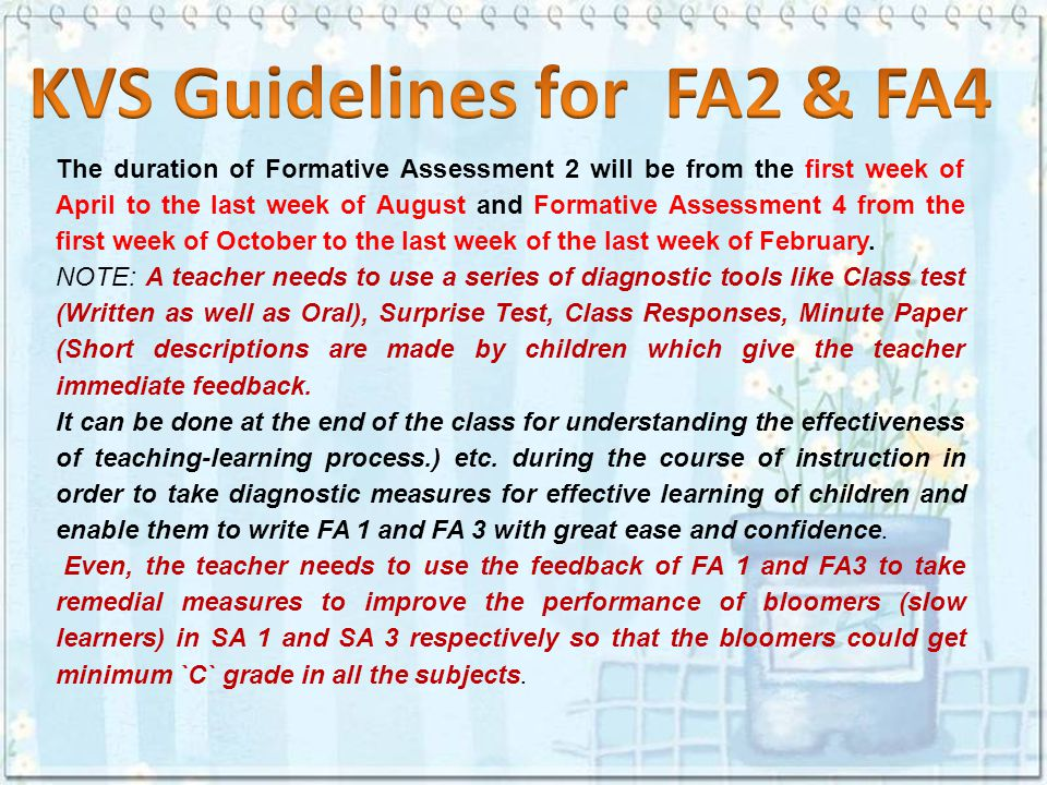 KVS Guidelines for FA2 & FA4