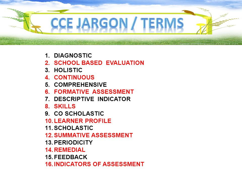 Cce jargon / terms DIAGNOSTIC SCHOOL BASED EVALUATION HOLISTIC