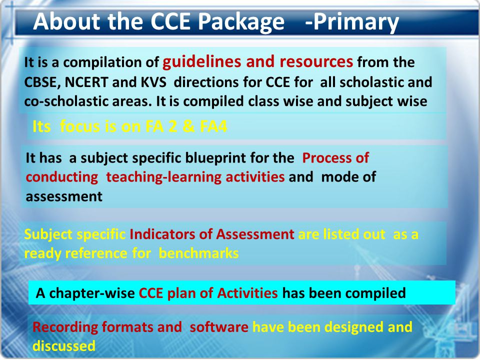 About the CCE Package -Primary