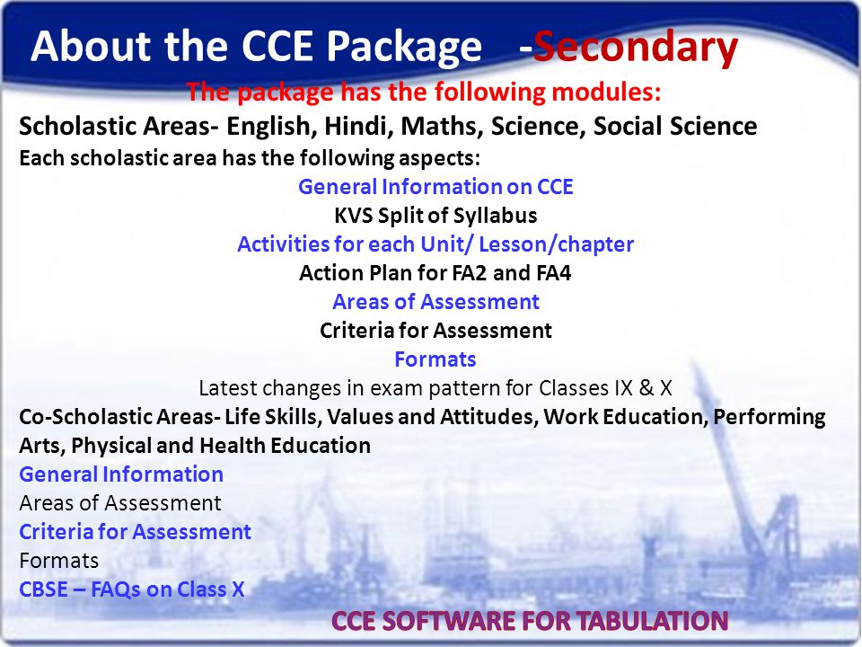 About the CCE Package -Secondary