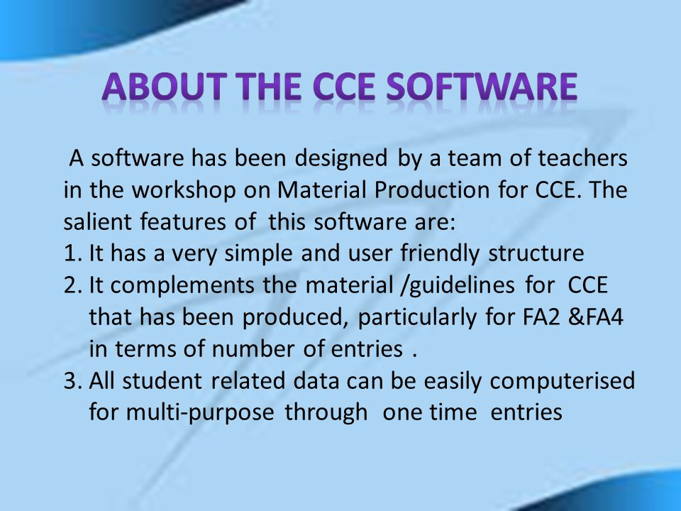 About the CCE Software