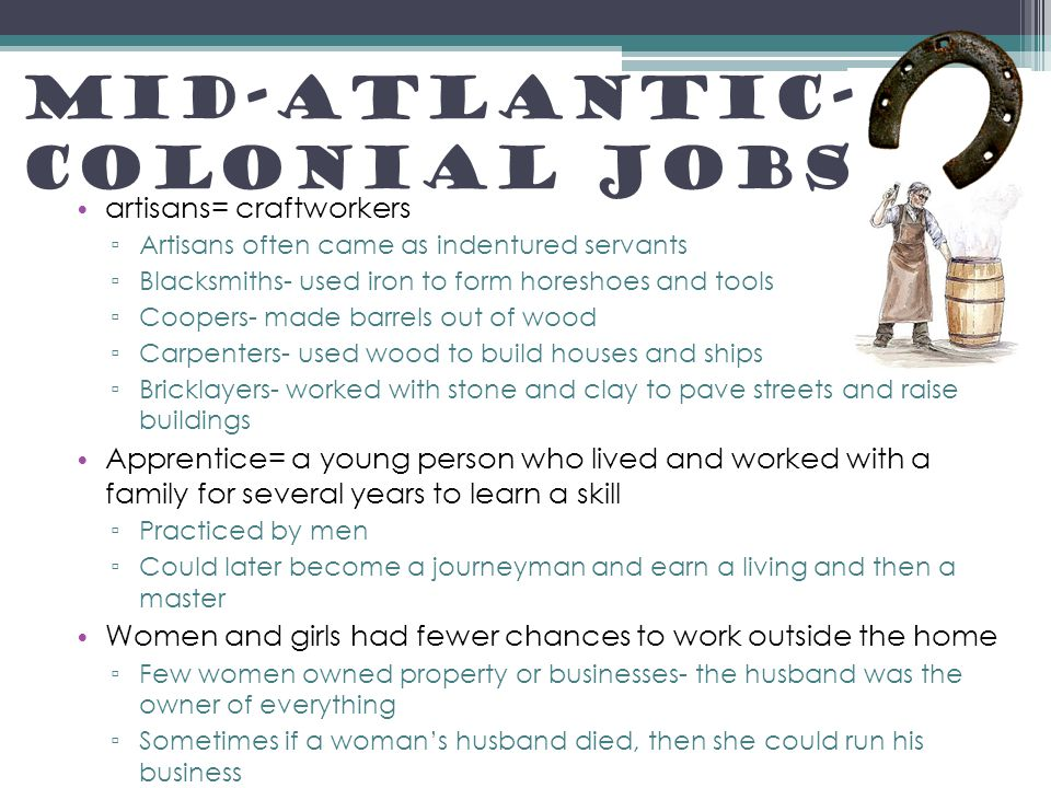 mid atlantic colonies economy