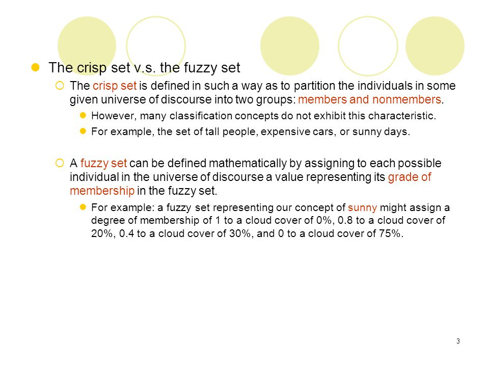 Application of fuzzy logic.
