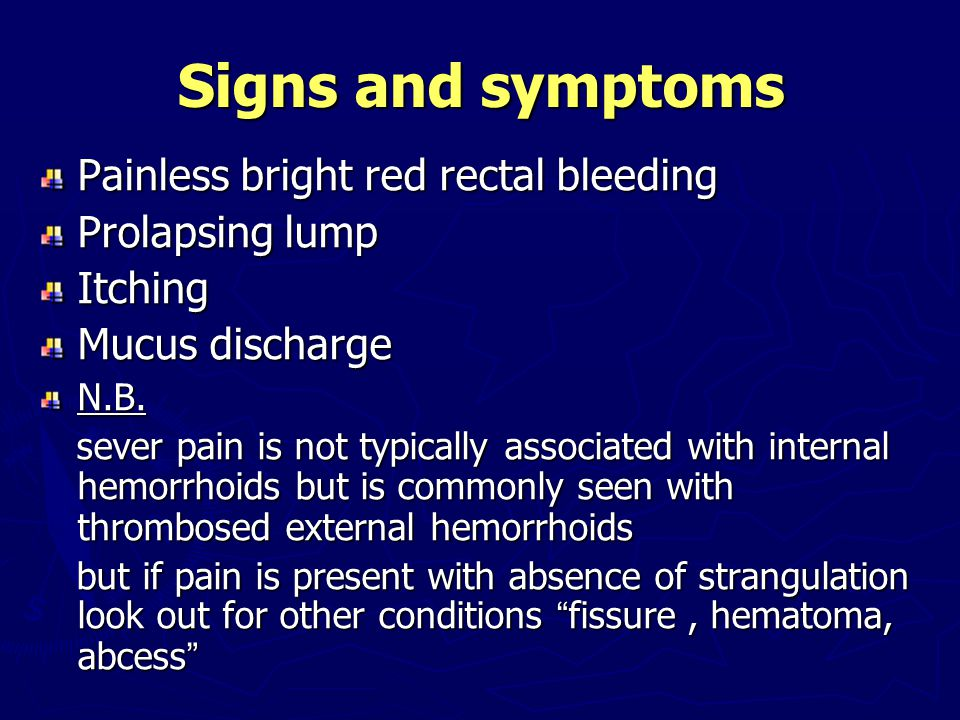 Signs and symptoms Painless bright red rectal bleeding Prolapsing lump