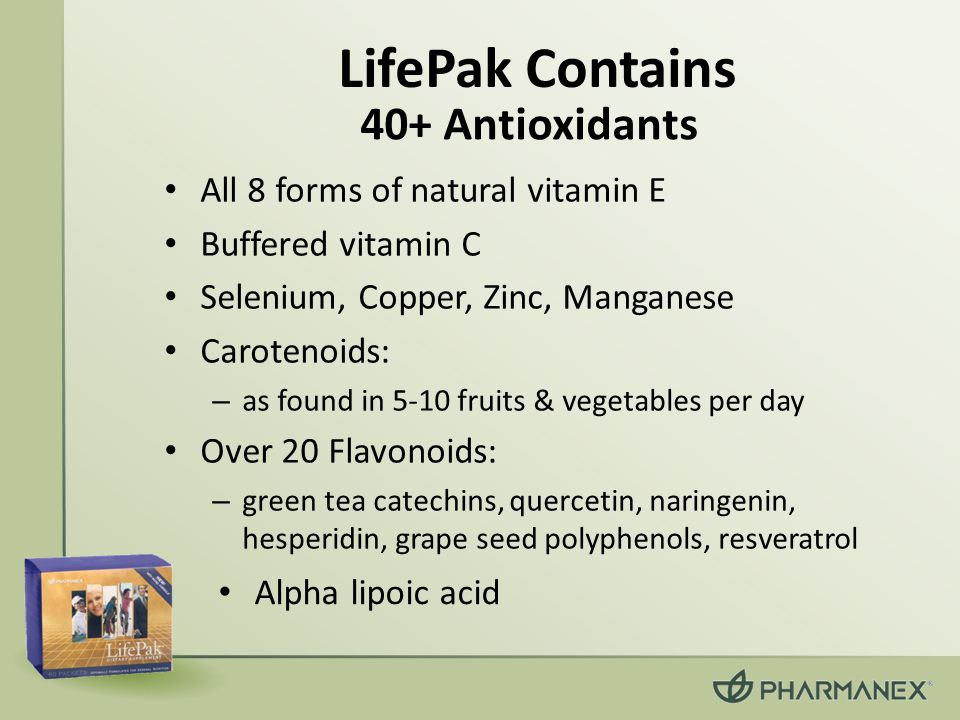 LifePak Contains 40+ Antioxidants All 8 forms of natural vitamin E