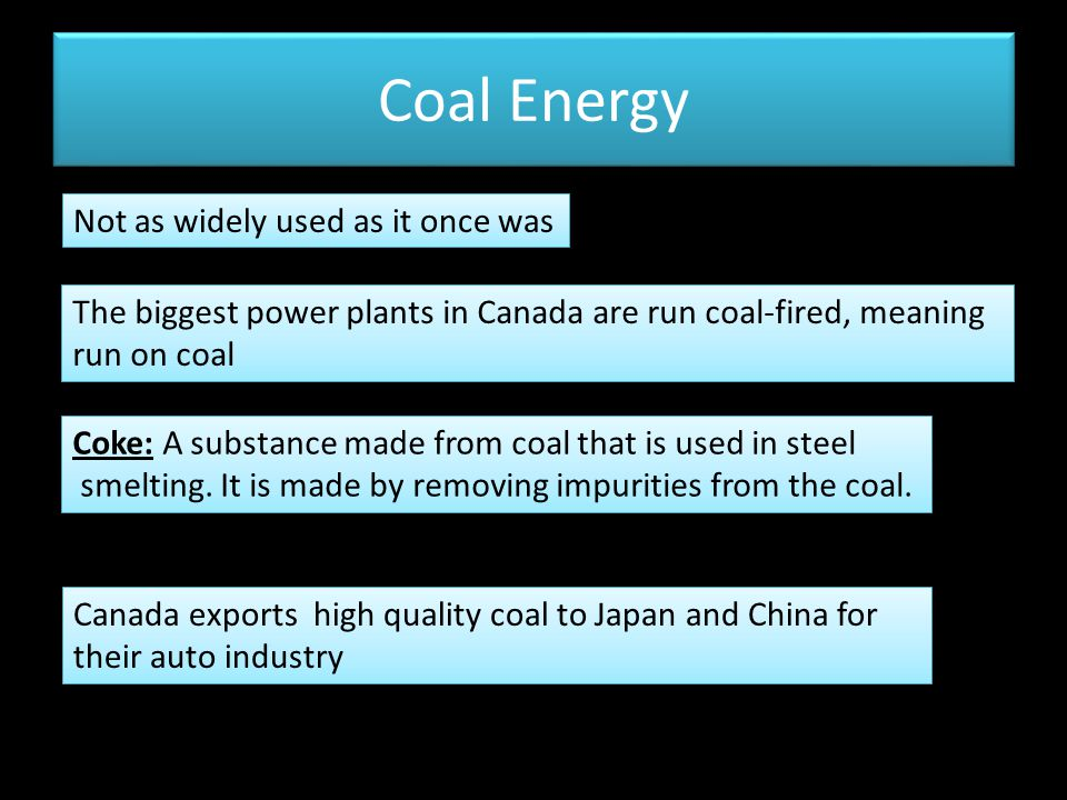 Coal Energy Not as widely used as it once was