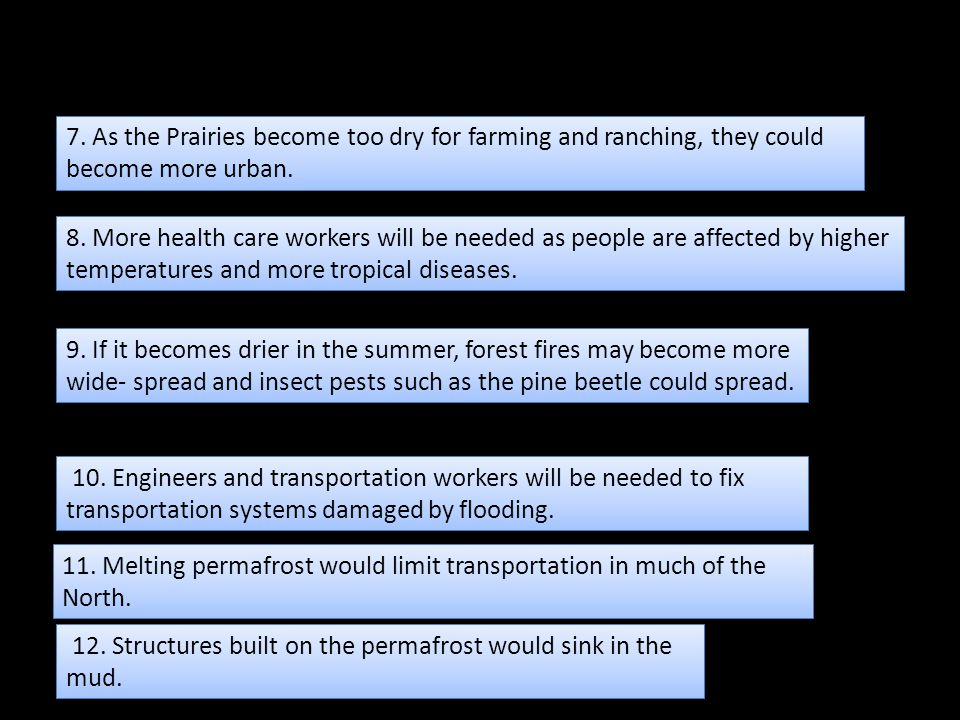 7. As the Prairies become too dry for farming and ranching, they could become more urban.