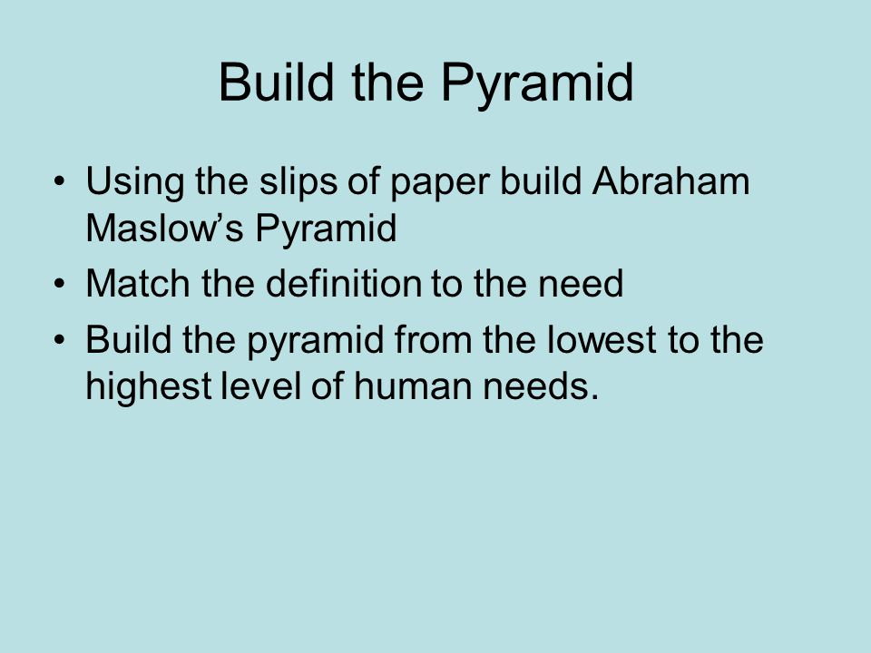 Build the Pyramid Using the slips of paper build Abraham Maslow's Pyramid. Match the definition to the need.