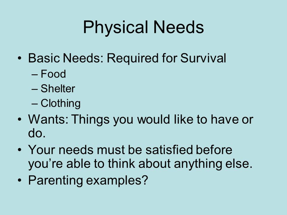 Physical Needs Basic Needs: Required for Survival
