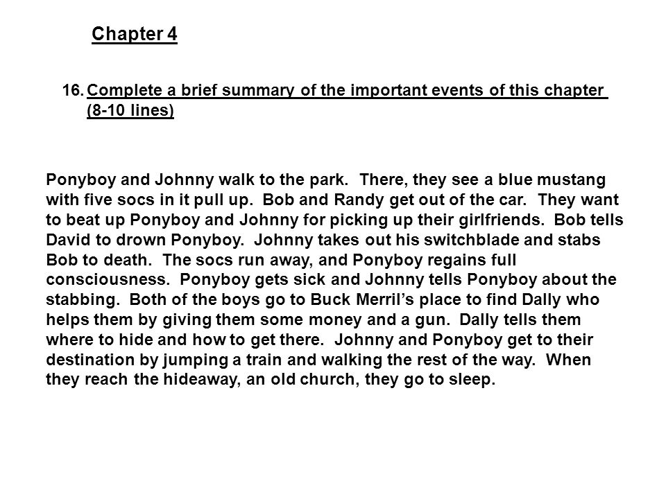 the outsiders chapter 4 summary