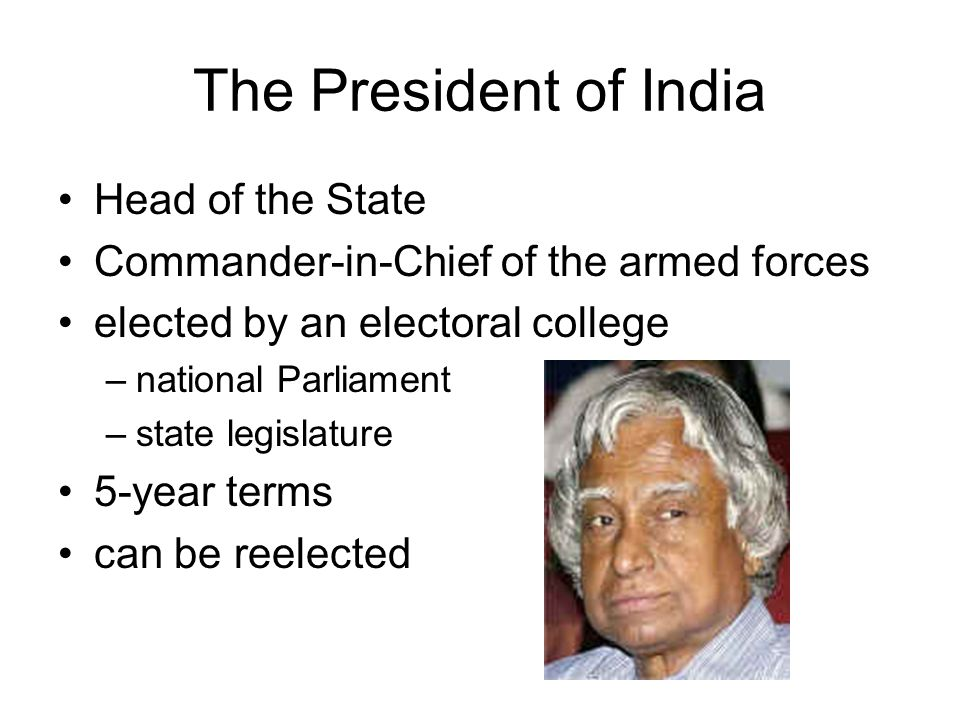 The President of India Head of the State