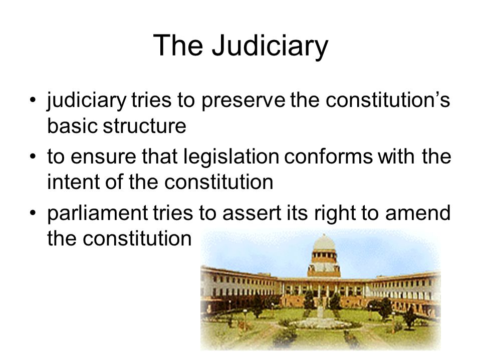 The Judiciary judiciary tries to preserve the constitution's basic structure.
