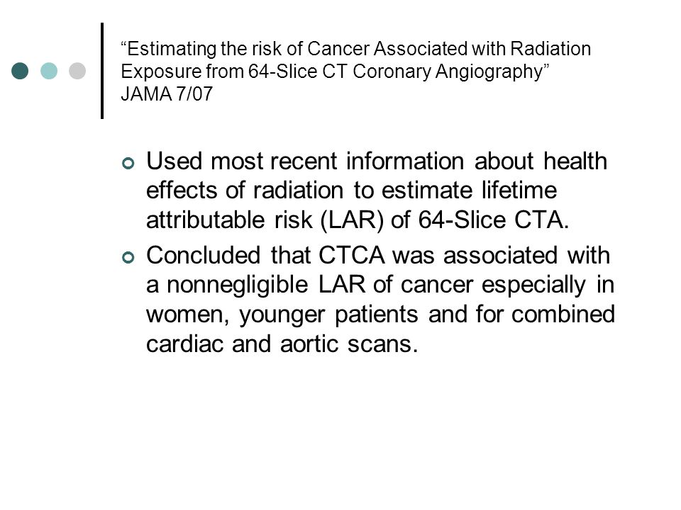Estimating the risk of Cancer Associated with Radiation Exposure from 64-Slice CT Coronary Angiography JAMA 7/07