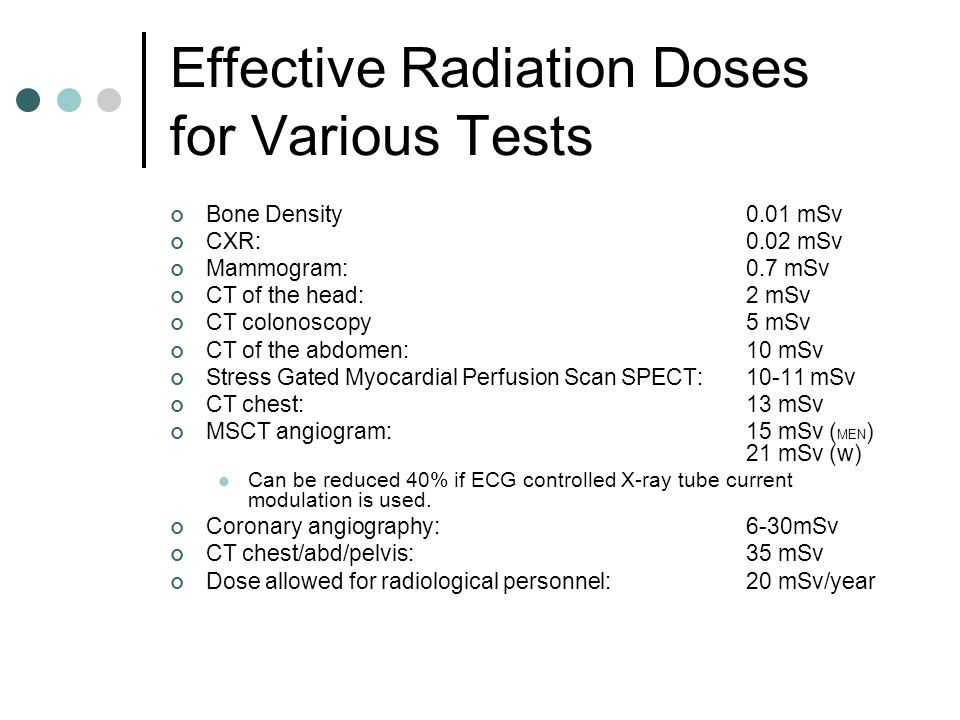 Effective Radiation Doses for Various Tests