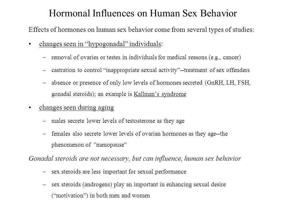Chp 5: Hormonal Influences on Human Sex Behavior