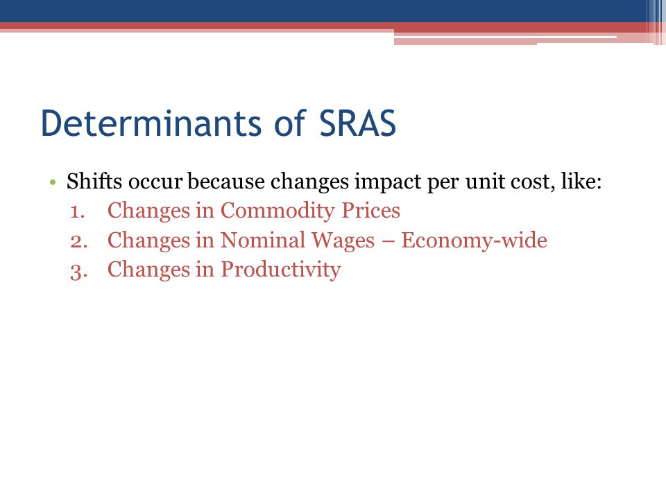 Determinants of SRAS Shifts occur because changes impact per unit cost, like: Changes in Commodity Prices.