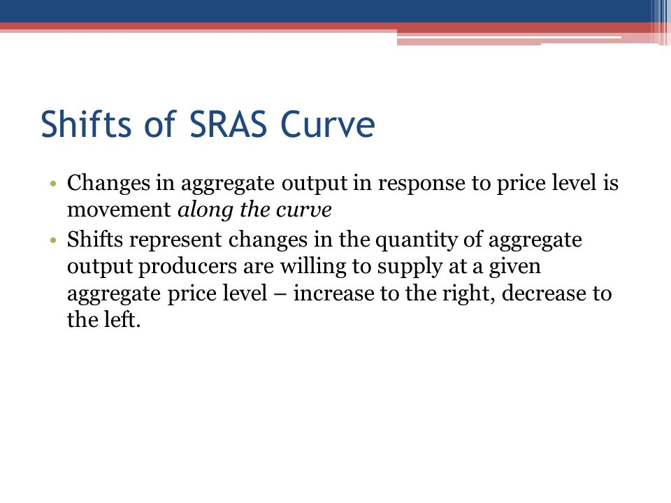 Shifts of SRAS Curve Changes in aggregate output in response to price level is movement along the curve.