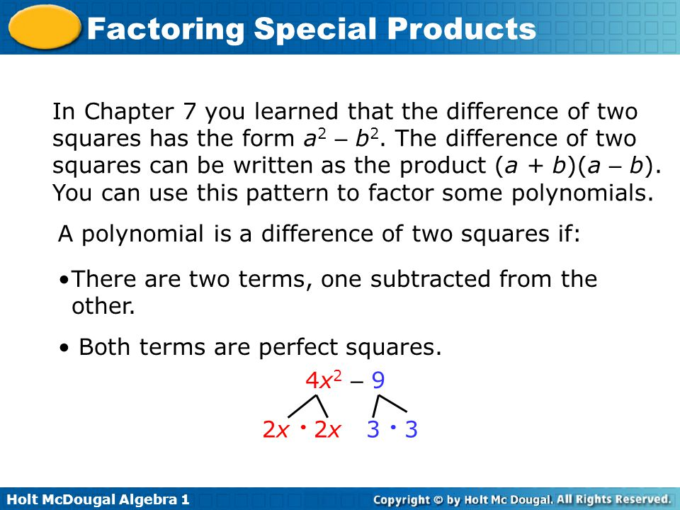 Factoring Special Products Ppt Video Online Download