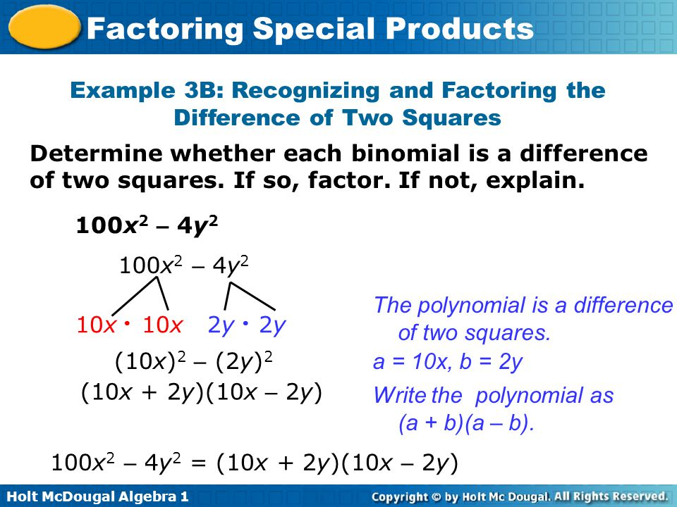 Exle 3b Recognizing And Factoring The Difference Of Two Squares: Factoring Special Products Worksheet At Alzheimers-prions.com