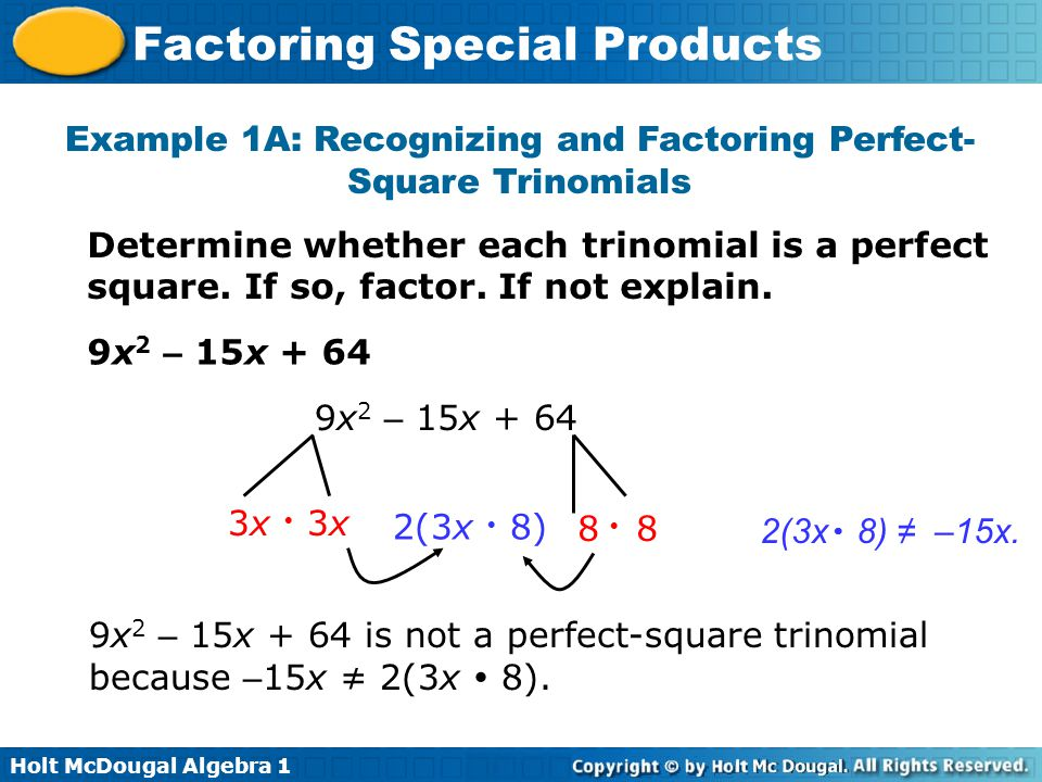 Exle 1a Recognizing And Factoring Perfectsquare Trinomials: Factoring Special Products Worksheet At Alzheimers-prions.com