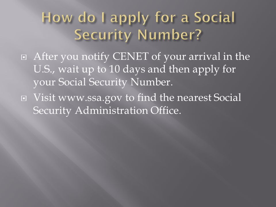 How do I apply for a Social Security Number