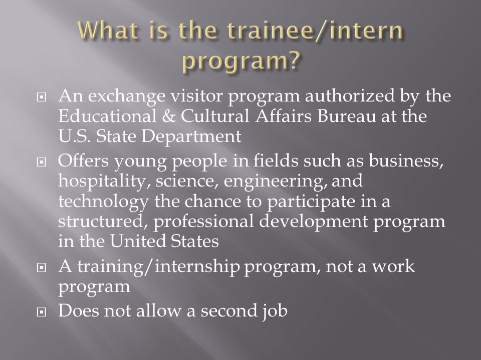What is the trainee/intern program
