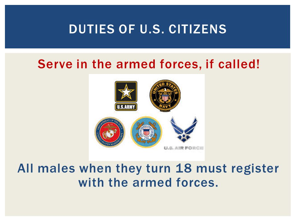 Duties of U.S. Citizens Serve in the armed forces, if called.