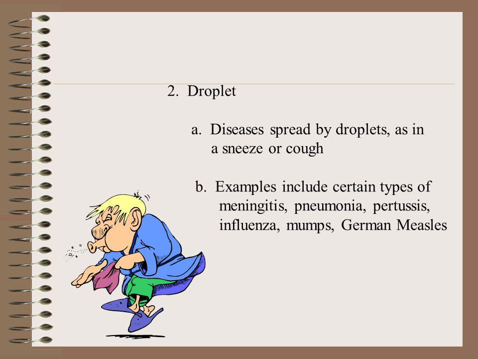 2. Droplet a. Diseases spread by droplets, as in. a sneeze or cough. b. Examples include certain types of.