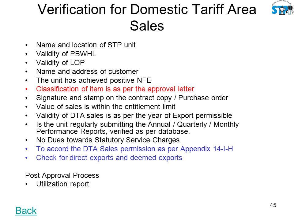 Uniformity approach of Statutory Services (STP/EHTP Scheme