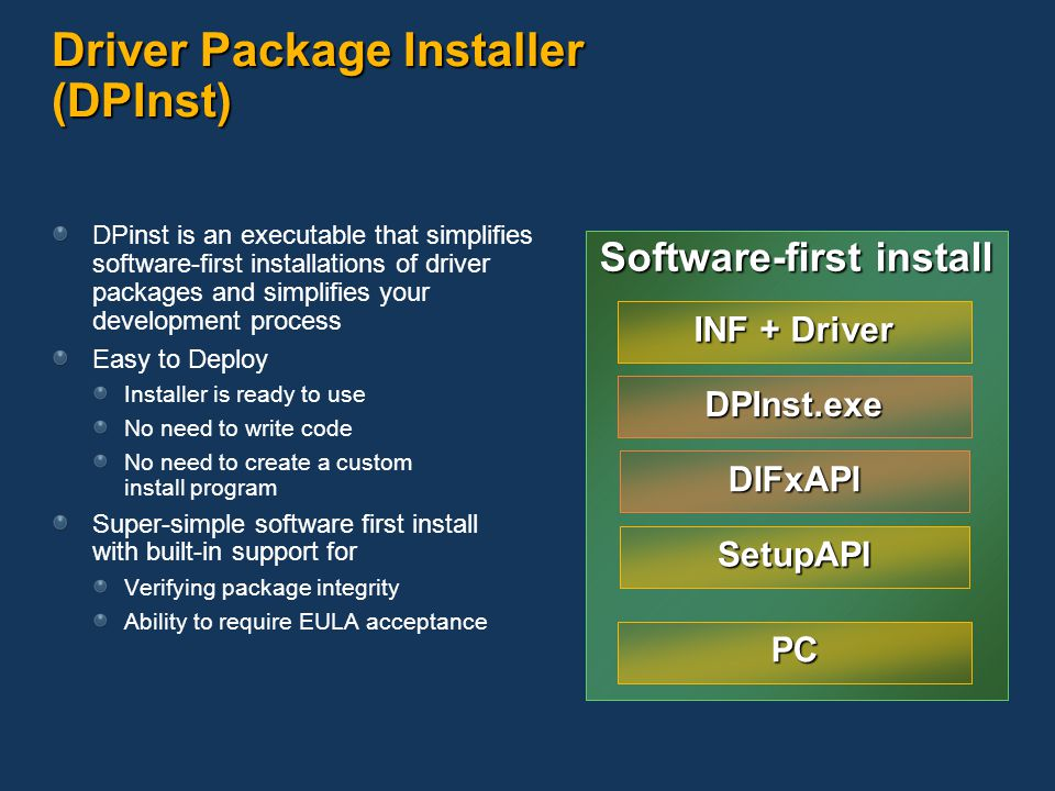 Driver Package Installer (DPInst)