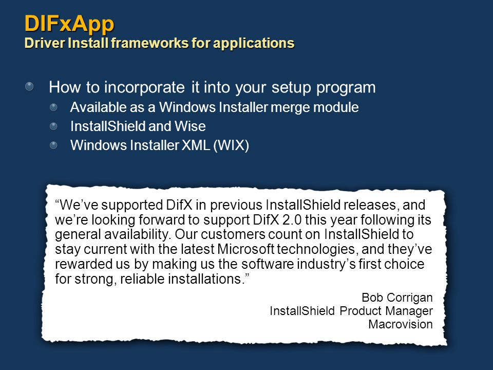 DIFxApp Driver Install frameworks for applications