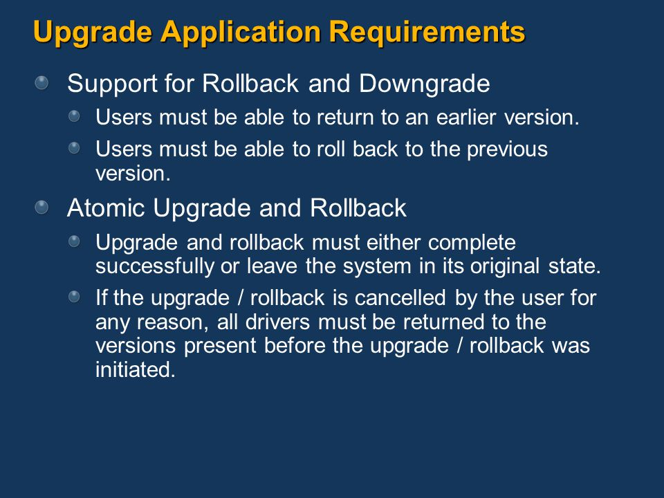 Upgrade Application Requirements