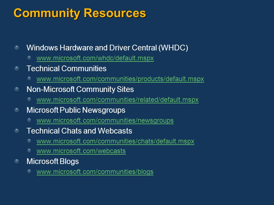 Community Resources Windows Hardware and Driver Central (WHDC)