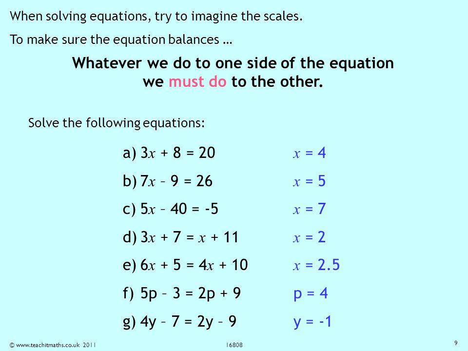 Solving equations The balancing method - ppt video online download