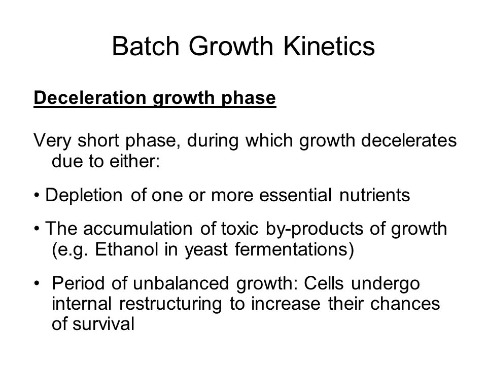 Batch Growth Kinetics Deceleration growth phase
