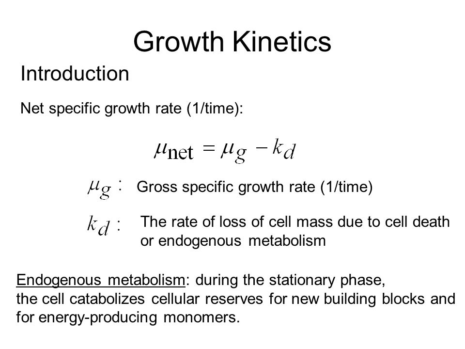 Growth Kinetics Introduction Net specific growth rate (1/time):