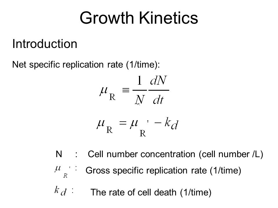Growth Kinetics Introduction Net specific replication rate (1/time):