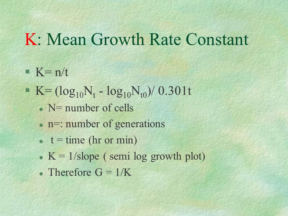 K: Mean Growth Rate Constant