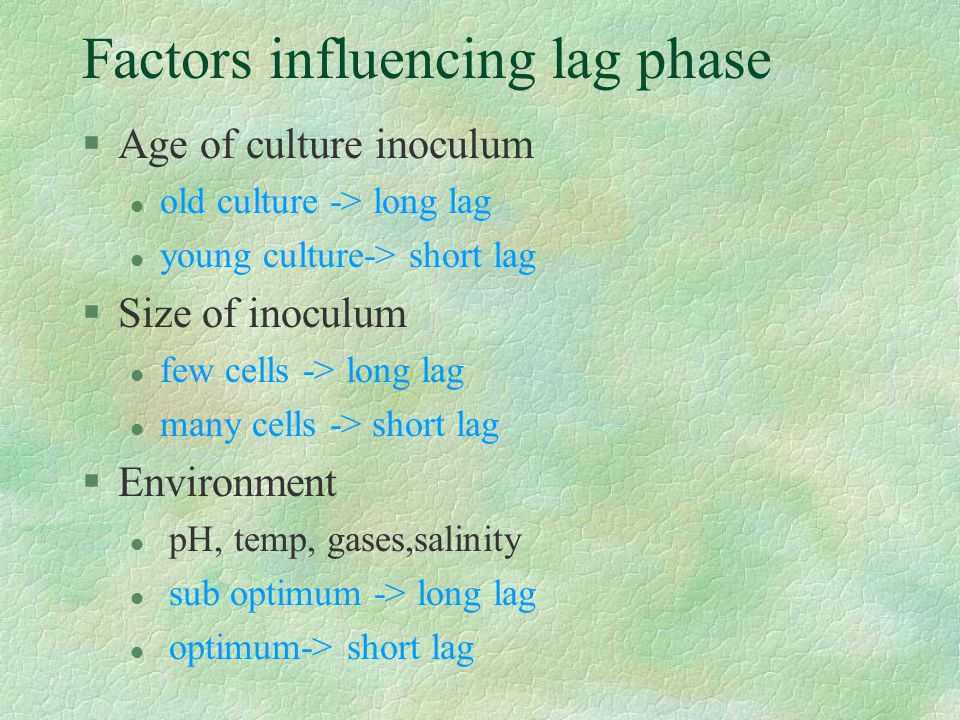 Factors influencing lag phase