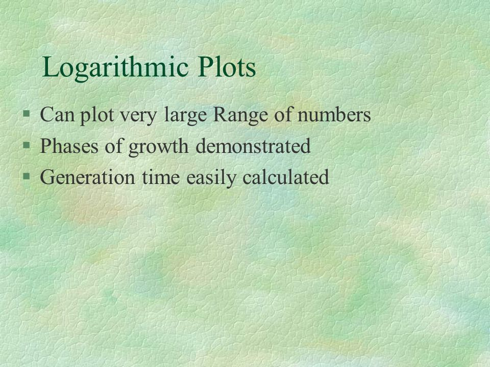 Logarithmic Plots Can plot very large Range of numbers