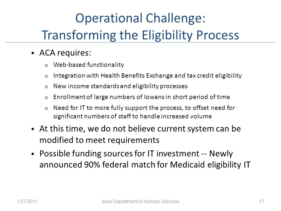 Operational Challenge: Transforming the Eligibility Process