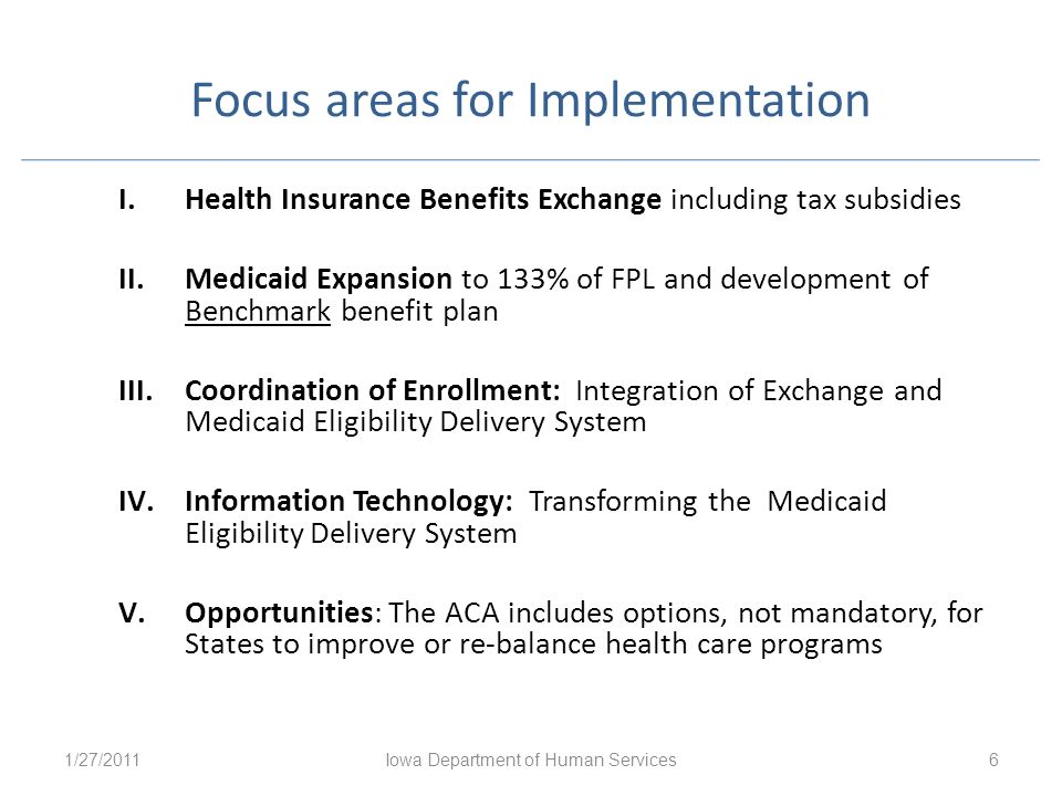 Focus areas for Implementation