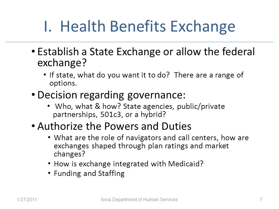I. Health Benefits Exchange