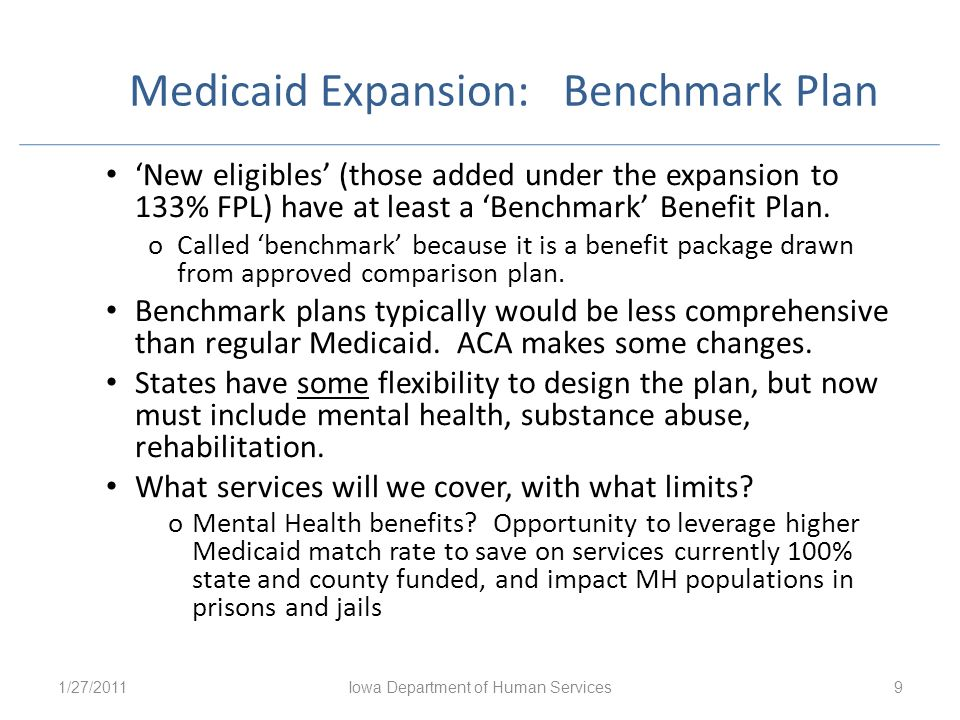 Medicaid Expansion: Benchmark Plan