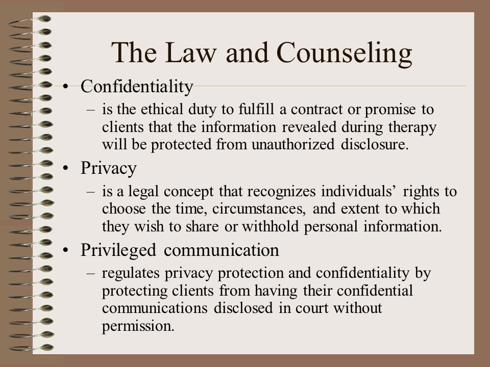 ethical and legal level of counseling Frequently by counselors and clients, and counselors are given additional guidelines on how to deal with technology and social media in an ethical, legal what is important about your personal values as they relate to professional practice is that you have a high level of self-awareness of your values.