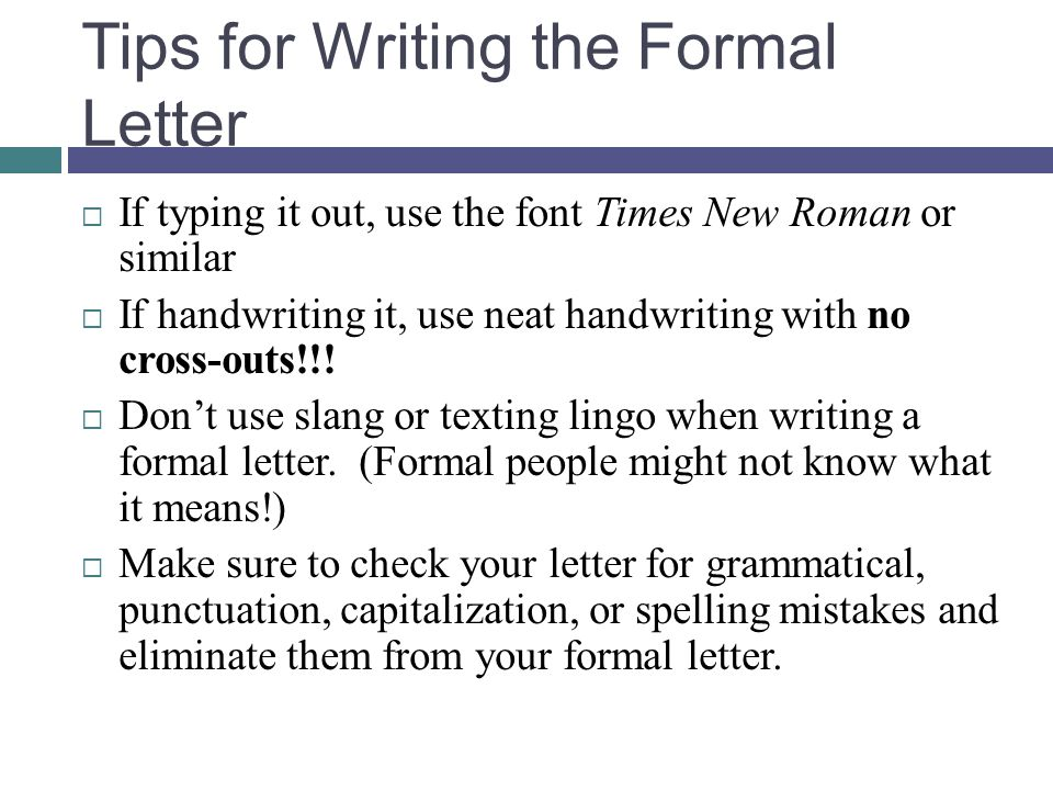 writing the formal letter ppt download