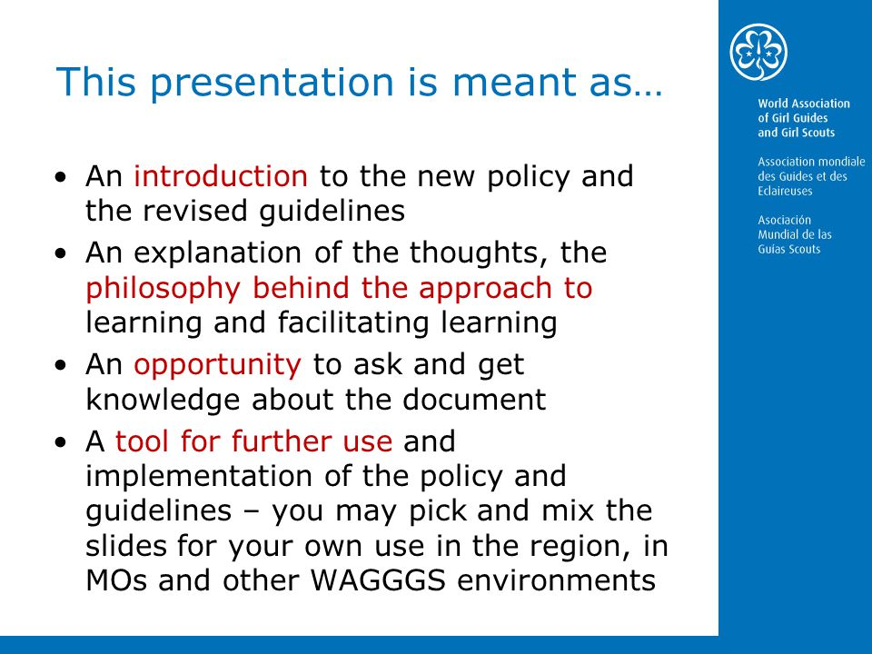 WAGGGS Policy & Guidelines: Adult Training, Learning and ...
